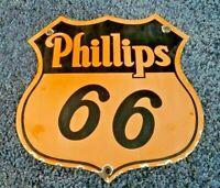 VINTAGE PHILLIPS 66 GASOLINE PORCELAIN GAS MOTOR OIL SERVICE STATION SIGN