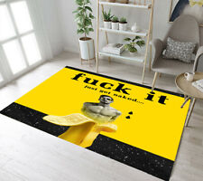 Creative Banana Yellow and Black Background Area Rugs Living Room Floor Mat Soft