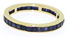 18K gold beautiful 2.50CT Blue sapphire eternity band ring size 8