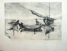 VINTAGE EUROPEAN ART PRINT SEASCAPE ETCHING