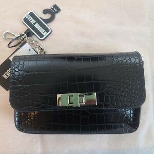 Steve Madden Women's  Croc-Embossed Chain Belt Bag Black L/XL   A018
