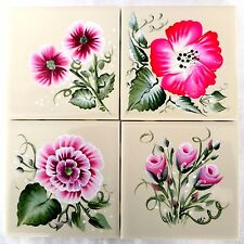 Set of 4 Pink Floral Hand Painted Square Tile Coasters Signed Josies Joys Canada