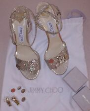 JIMMY CHOO Silver Sparkle Ankle Strappy OpenToe Heels, Detachable Charms NEW 39