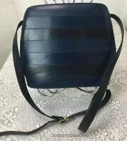 Quercioli Firenze Vintage Italian Leather Crossbody Purse Black/Blue Striped EUC