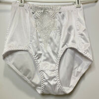 High Waisted Panty Knickers Brief Tummy Control Shaper White Lace Sz Large