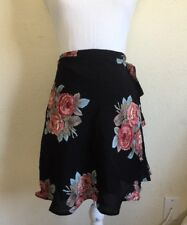 NEW! brandy melvile black floral ballet wrap mini Genevieve Skirt NWT S/M