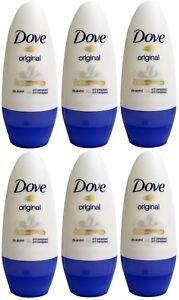 6 x Dove Original Roll-On Deodorant - 50mL 100% Brand New