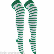 GREEN AND WHITE SHAMROCK STRIPED OVER THE KNEE SOCKS , ST PATRICKS, SANTA ELF