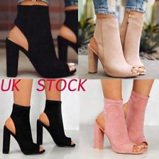 Women Ladies Chunky Boots Mid High Block Heel Ankle Shoes Block Suede Peep Toe