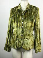 Barry Bricken Green Crush Velvet Textured Button Down Blazer w/Pockets Size 4