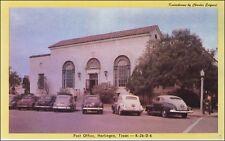 Post Office, Harlingen, TX. Cars. Circa 1940s.