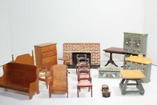 15 Pieces Of Vintage Doll House Wooden Furniture Bed Chairs table Drawer + More
