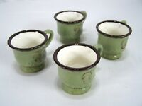 Fleur De Lis Green Brown Set of 4 Coffee Tea Cocoa Cups Mugs Hand Painted