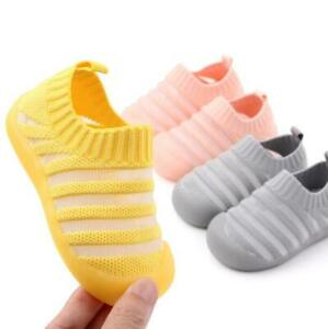 Baby Children No-slip Stripe Mesh Slip On Toddler Infant Soft Sole Casual Shoes