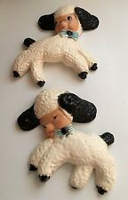 """Vintage 2 White Lambs Plaster/Chalkware Wall Hangings Blue Bows 6"""" Tall"""