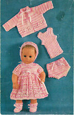 "Dolls clothes knitting pattern.14"" doll.   Laminated  copy. (V Doll 35)"