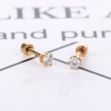 Women 18K Gold Plated Round Brilliant Cut CZ Crystal Stud Earrings Ear Jewelry