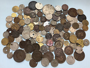 Holed Antique And Morden Lot X110 Coins And Medals  #009