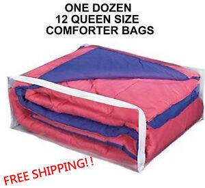 1 Dozen Queen Size Comforter Storage Bags Package of 12 Blanket (Queen) Bag