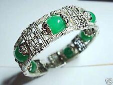 100% handmade Charming Tibet Silver Natural Green Jade 12mm Bracelet AAA