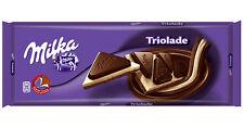 Tablette de 300 gr de chocolat Milka triolade, mélange chocolat au lait et blanc