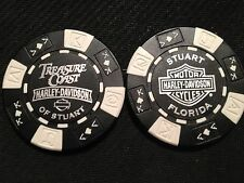 "Harley Davidson Poker Chip (Black & White) ""Treasure Coast H-D"" Stuart, Florida"