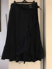 M&S 16 Long Navy Blue Waterfall Front Dip Hem Cotton Maxi Skirt BNWT