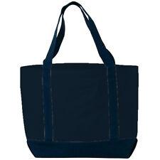Reusable Heavy Cotton Canvas Grocery Shopping School Book Tote Bag NAVY BLUE