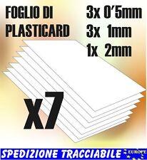 7x Fogli PLASTICARD LISCIO MIX - lastre plastica ABS modellismo autocostruzione
