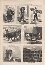 1873 ANTIQUE PRINT- PORTUGAL, LISBON, FISH BOY, MILK SELLARS, OX-CART, BELEM CAS