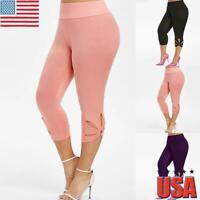 Plus Size Women High Waist Hollow Leggings Ladies Fitness Running Yoga Pants USA