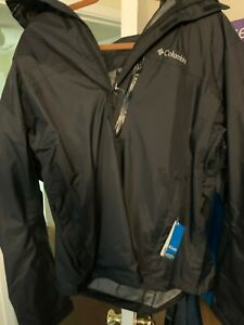 NEW Columbia Pouration Omni-Tech Waterproof Rain Jacket Shell Mens XXL Black