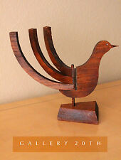 MID CENTURY MODERN SCULPTURE CANDLE HOLDER! 1950'S REDWOOD BIRD EAMES ERA ATOMIC