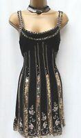 KAREN MILLEN 8 UK Black Silk Ombre Beaded Gatsby Flapper Dress Christmas Party