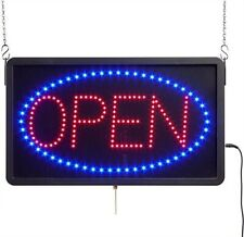 """Open"" Animated Led Sign with Hanging Chain, Rectangular - Red & Blue"