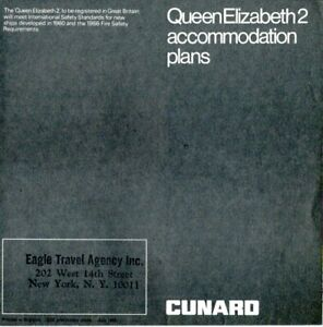 1968 QE2 Pre-Maiden Voyage Deck Plan Showing Original Public Rooms & Cabins
