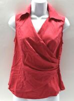 Jones New York Signature Women's Small Stretch Sleeveless V-Neck Pink Blouse Top