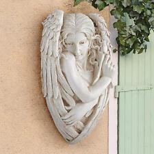 """Peaceful Garden Centerpiece Sweet Cherub Angel Wall Sculpture 24"""""""