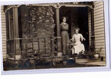 Real Photo Postcard RPPC - Two Women on Porch with Beautiful Plants
