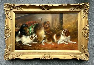 Frank W Cassell 19th Century Oil Painting On Canvas Terriers & Spaniel In A Barn