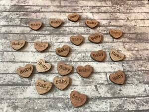 Baby Shower Love Hearts x 50 Christening Decorations Wooden Table Confetti UK