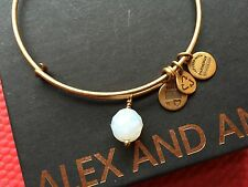 RARE NEW ALEX and ANI WHITE OPAL OONA Drop Charm GOLD Beaded Bangle BRACELET💎
