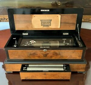 Large Exceptional 19thc Swiss Interchangeable (3) Orchestral Cylinder Music Box