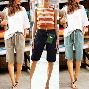 Women 3/4 Linen Trousers Lady Rib Back Cropped Pants Shorts Plus Sizes UK 6-22