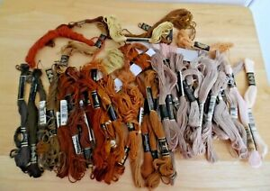 Large Lot of Multi-Brown Skeins of Embroidery Floss DMC~J&P Clark ~ Am. Thread