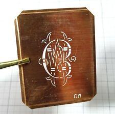 CW C W monogram stencil embroidery antique copper metal initials letters vintage