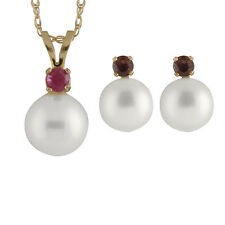 """7-7½mm round freshwater pearl pendant/17"""" chain & matching stud earring RB-14-7R"""