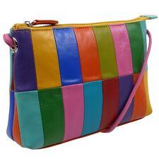 Ladies Leather Colourful Cross Body Bag by Ili New York Rainbow