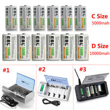 Lot 5000mAh/10000mAh C D Cell NI-MH Rechargeable Batteries / AA AAA 9V Charger