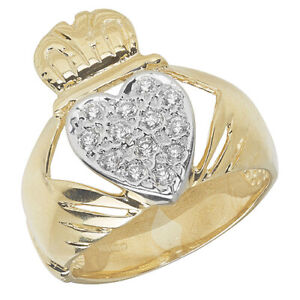 Genuine 9CT Yellow Gold Men's Stunning Claddagh CZ Ring Q-Z Sizes - Gift Boxed